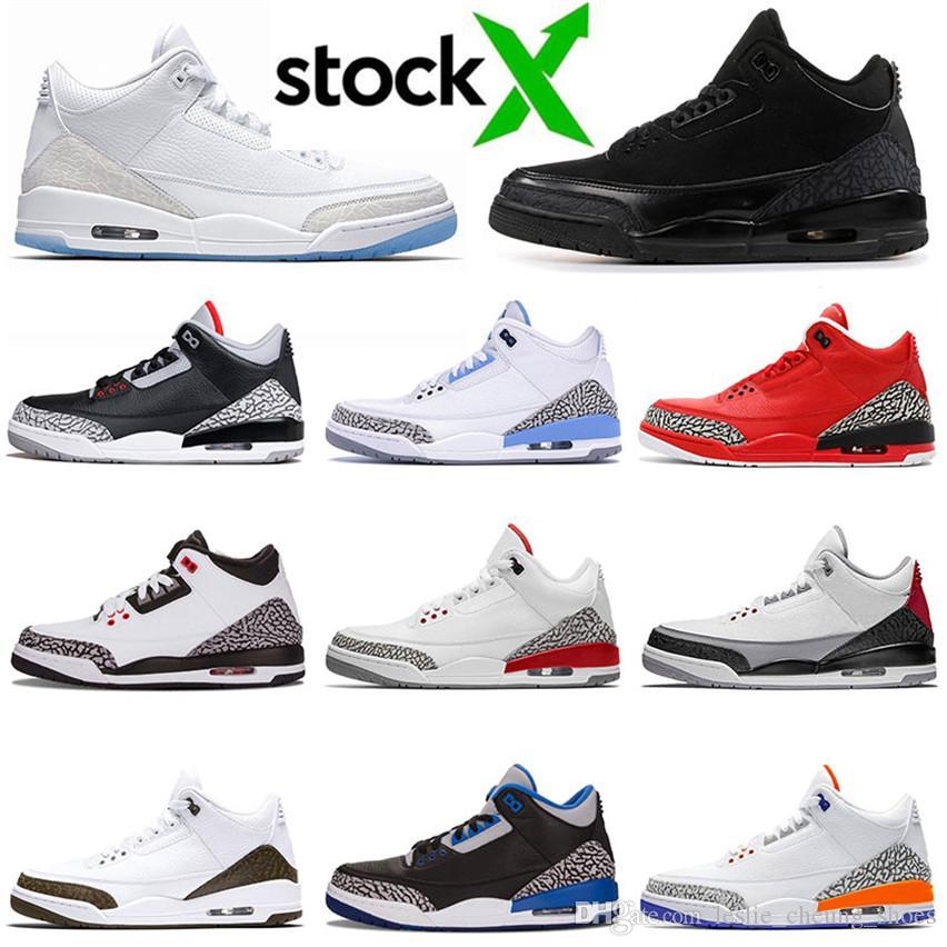 Nike Air Max Retro Jordan Shoes Top 3 3s Мужская баскетбольная обувь для молодежи СЕУЛ Никс Соперники Pure White Black Cat Цементный Katrina Sneaker Прохождения Размер 7-13