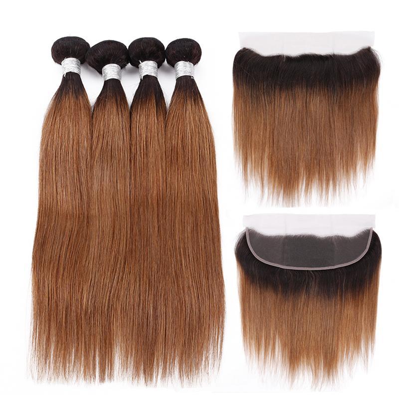 جودة عالية أومبير اللون #T 1B / 30 مستقيم ريمي الإنسان الشعر ينسج 3 حزم مع 13x4 الدانتيل أمامي اختتام