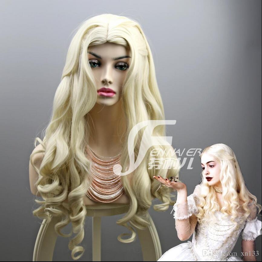 Wonderland Sleepwalking 2 Mirror Fantasy Queen Langes lockiges Haar, Perücke in Reisweiß