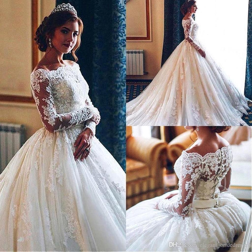 Robes de mariée en dentelle Ivoire Vintage Vintage Ivoire 2019 épaules dénudées manches longues pure robe de bal Tulle robes de mariée avec bouton couvert