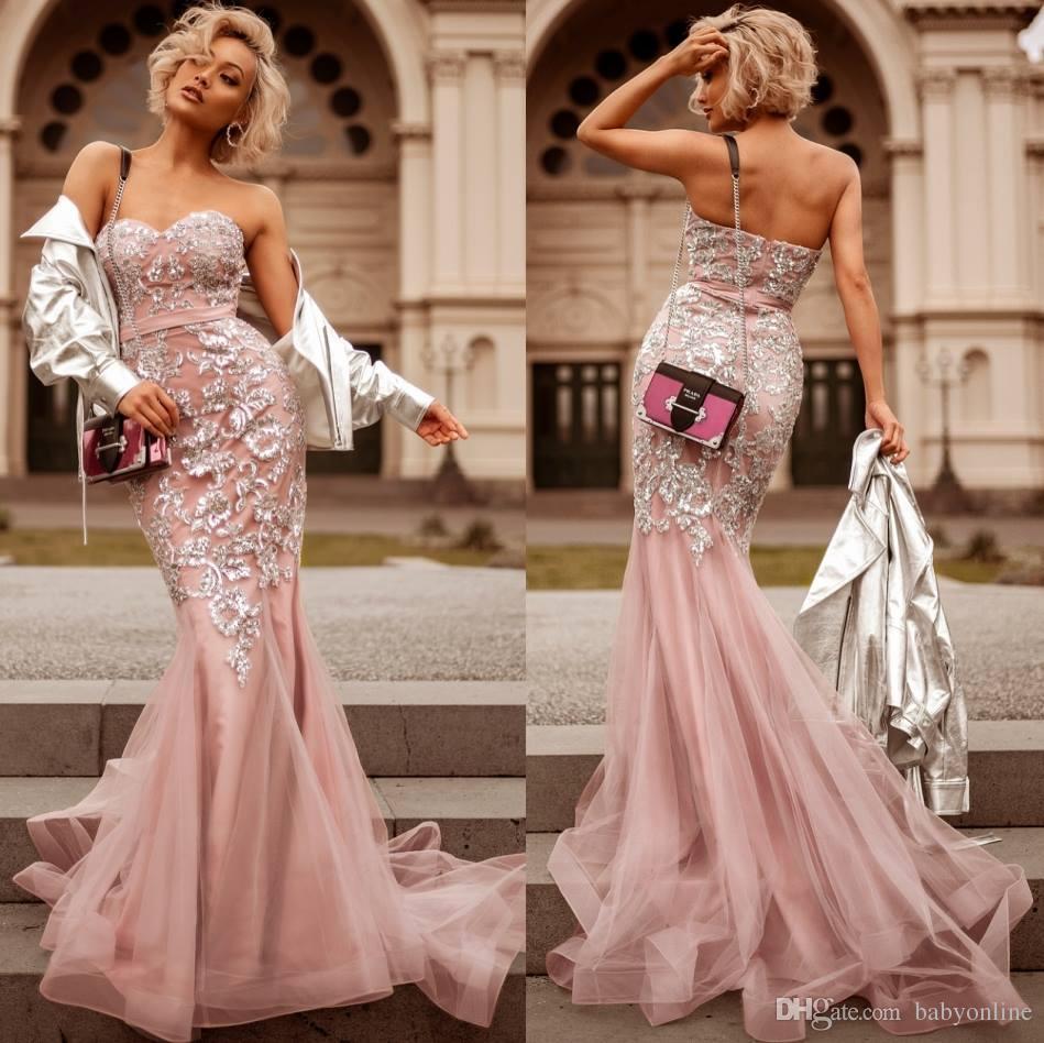 Magnifique Sexy Rose Sirène Robes De Soirée Dos Nu Sweetheart Longue Appliques Robes De Soirée De Bal Robe De Paillettes Robe de soirée