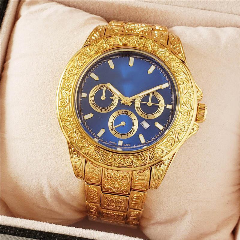الذهب أزياء الرجال ووتش رخيصة السعر الفولاذ المقاوم للصدأ منقوش تصميم الساعات حركة كوارتز ذكر الرياضة ساعة اليد ووتش ساعة