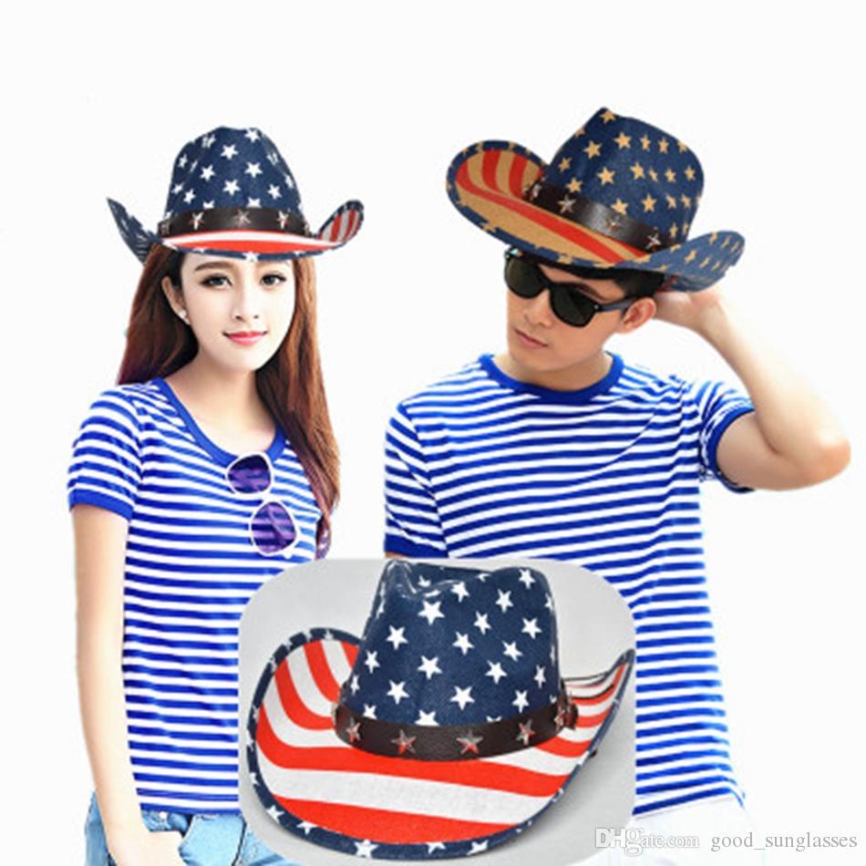 American Flag Panama Hat Western Cowboy for Men Women Star Striped Hollow Jazz cap Wide Brim Sunhat LJJJ51