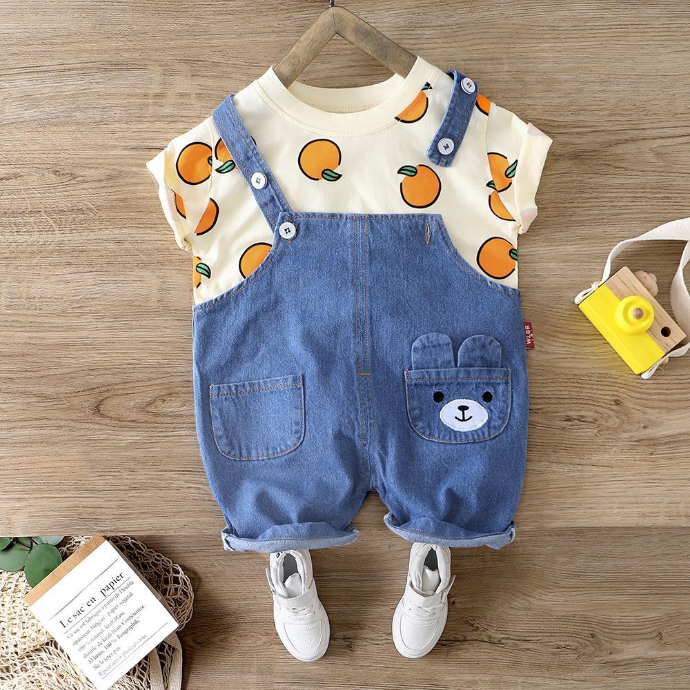 Bebé camiseta del verano fijado para el muchacho de la muchacha traje 1 2 3 niño de 4 años ropa de los muchachos Denim El traje de vacaciones de camisa traje traje de ropa