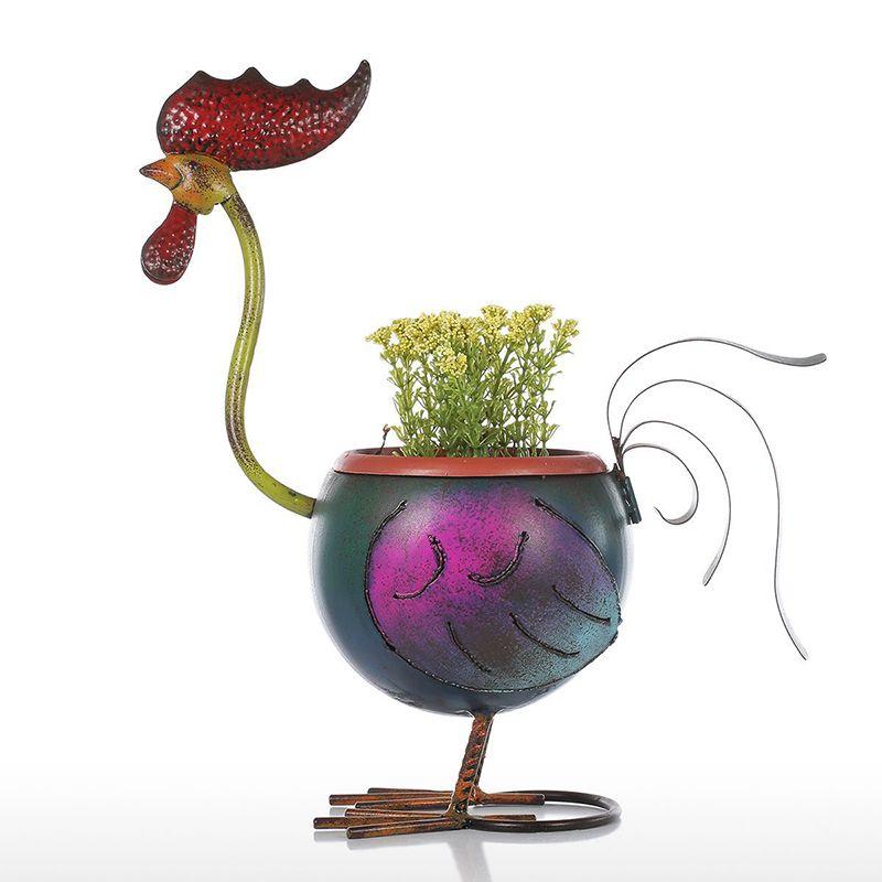 수탉 화분 크리 에이 티브 홈 수탉 화분 장식 선물 미니 금속 여러 가지 빛깔의 정원 냄비 홈 오피스 데스크톱 꽃 공예