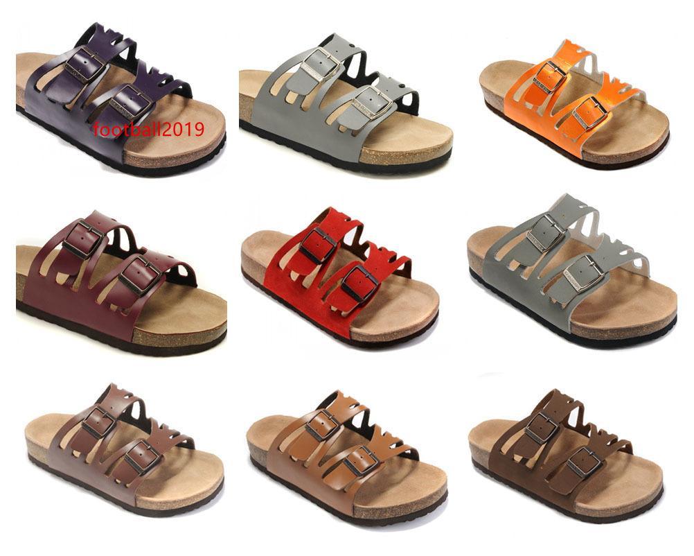 Manera CALIENTE TOP Marca Arizona Hombres plana talón mujeres de las sandalias de verano Multaicolor Zapatos Casual hebilla de alta calidad de cuero genuino del envío