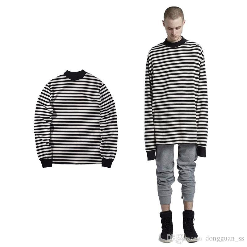 Streetwear Hip Hop Casual Striped Full Sleeve Long T-shirt with Gloves Streetwear Men Tee Shirts Camiseta tshirt