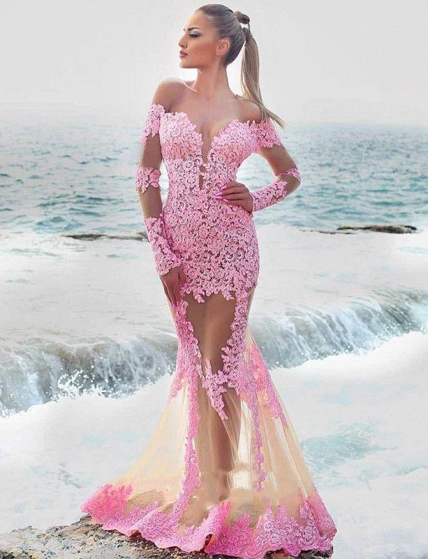 Compre 2019 Vestidos De Fiesta Sexy De Playa Transparente Con Apliques De Encaje De Manga Larga Vestidos De Baile Para Mujeres A 11711 Del