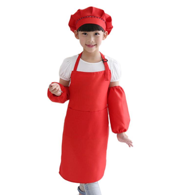 Bambini grembiule pieno Bib Set con Pocket e cappello manicotti Craft Cucina Cuoco arte bambini Diy Abbigliamento Rosso