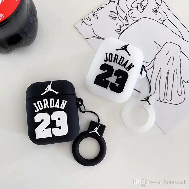 360 schützende Silikon Tasche Abdeckung mit Fingerring für Airpods Wireless Headset Basketball Sport Print Aufbewahrungstasche Fall Stoßfestigkeit