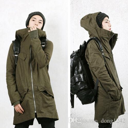 Giacca da uomo in cotone coreano nuova con cappuccio casual Parka Cappotto lungo in due pezzi