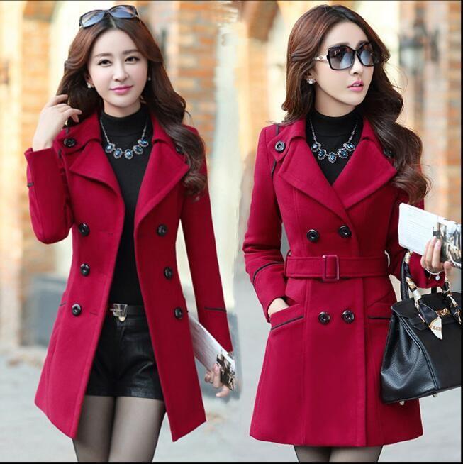 Risvolto del nuovo delle donne Autunno Inverno cintura di lana del cappotto delle lane del cappotto giacca a vento capispalla cappotti del rivestimento