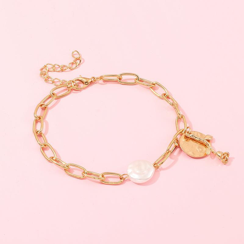 Braccialetti del fiore di colore della catena di colore dell'oro della perla del boho del boho per le donne di fascino del partito della moda della boemia gioielli della spiaggia della Boemia