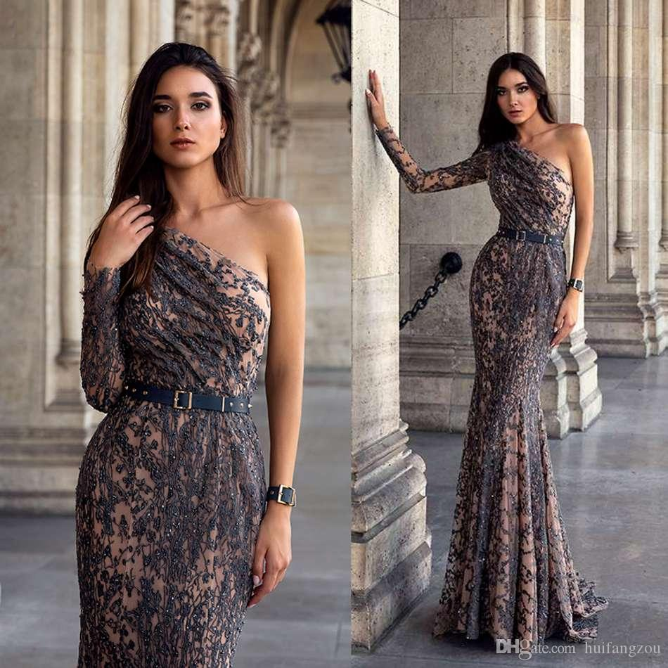 One Shoulder Mermaid Prom Dresses Oksana Mukha Illusion Long Sleeve Lace Applique Beaded Evening Dresses Luxury Custom Made Pageant Dress