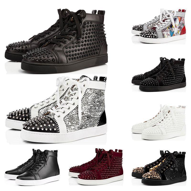 2020 pattini del progettista con borchie Spikes moda Red pelle scamosciata delle donne degli uomini fondo piatto le scarpe di lusso parte gli amanti delle scarpe da tennis di dimensioni 36-46 c16
