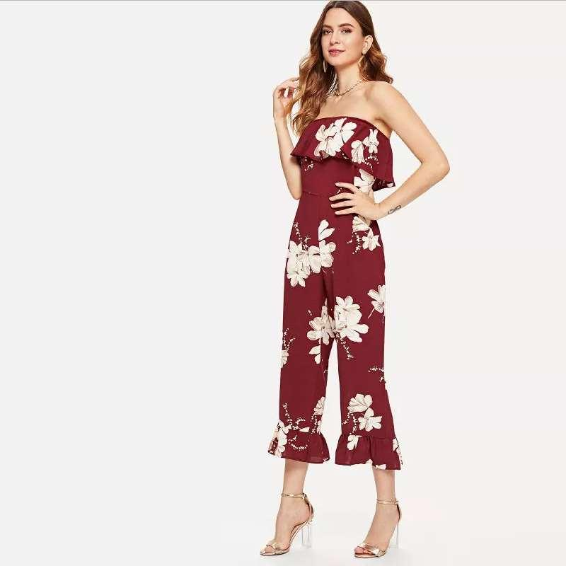 Explosive trousers Sleeveless off-the-shoulder wrapped chest print jumpsuit women's clothing
