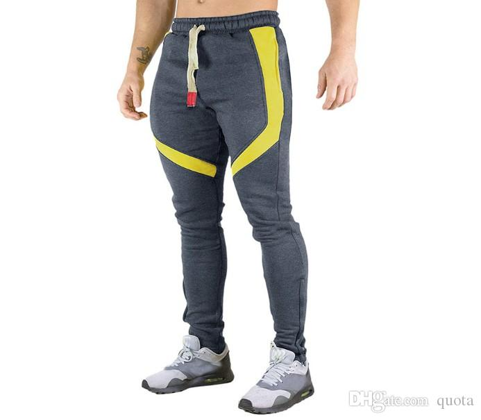 New Style Men's Jogger Sweatpants Side Stripe Pants Men Patchwork Fitness Trousers for Male Casual Elastic Cotton Pantalon Homme