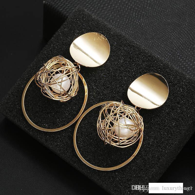 Korean Temperament Metal Ring Hollow-out Pearl Pendant Earrings Female Personality Exaggerated Earrings