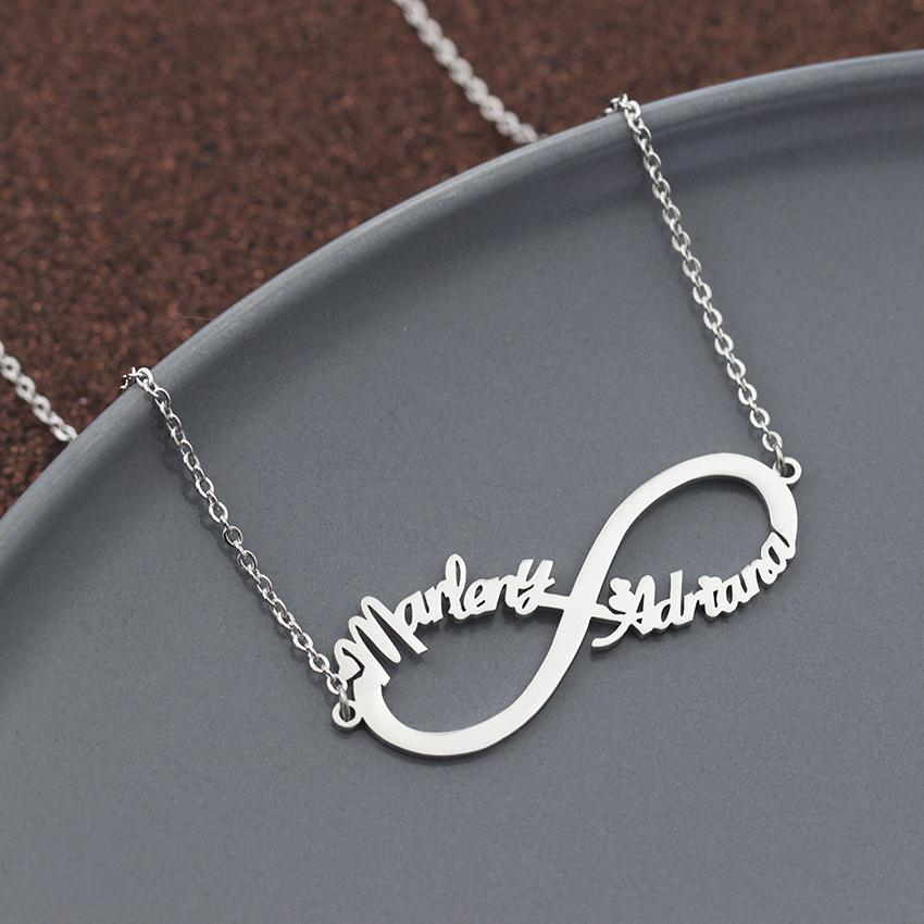 Customized Infinity Name Necklace Personalized Nameplate Choker Necklaces For Women Men Jewelry Friendship Bridesmaid Gift BFF
