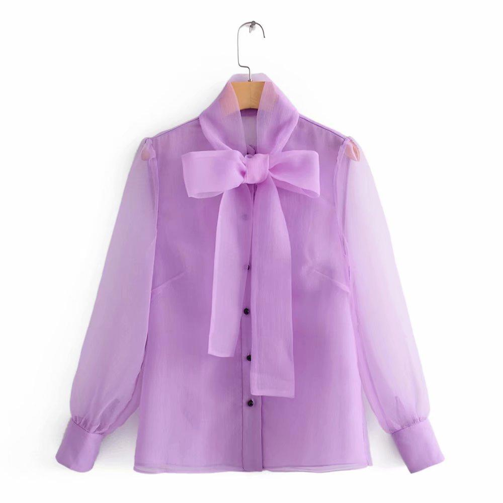المرأة مثير شفافة القوس مرتبطة طوق عارضة الأورجانزا بلوزة قمصان سيدات الأعمال Femininas Blusas femininas أنيقة قمم LS4261 Y200402