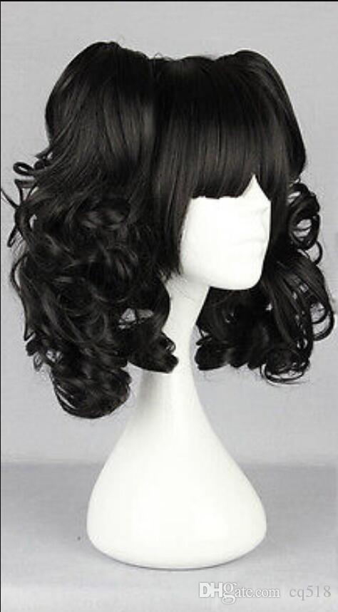 Peluca envío gratis ¡Venta caliente! Popular nueva larga peluca negra de cosplay + 2 coletas