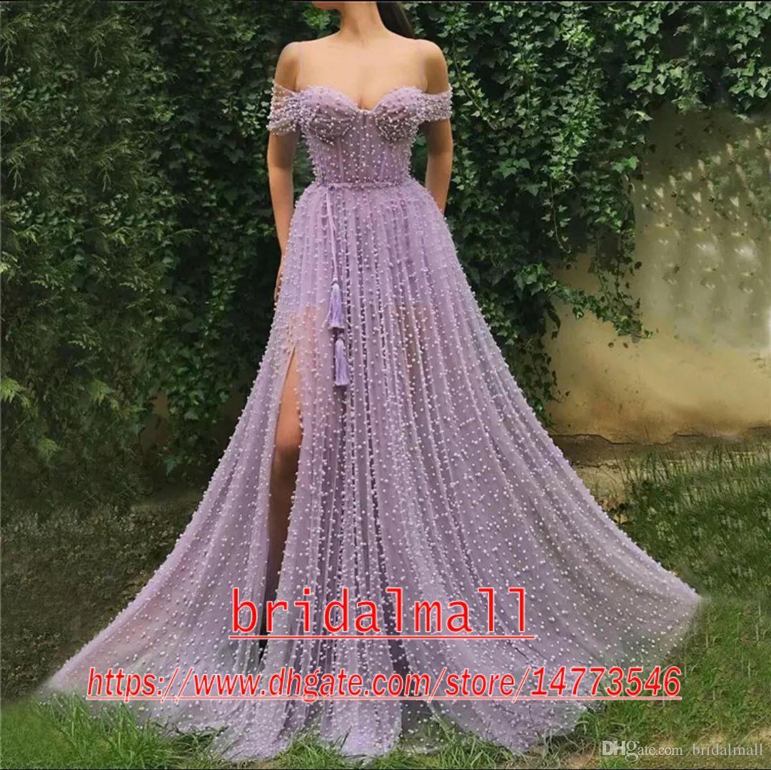 Pesada rebordear Perlas Tul Vestidos de baile lavanda largo elegante 2020 del hombro Off partido formal de hendidura lateral vestidos de noche atractivos del desfile de los vestidos