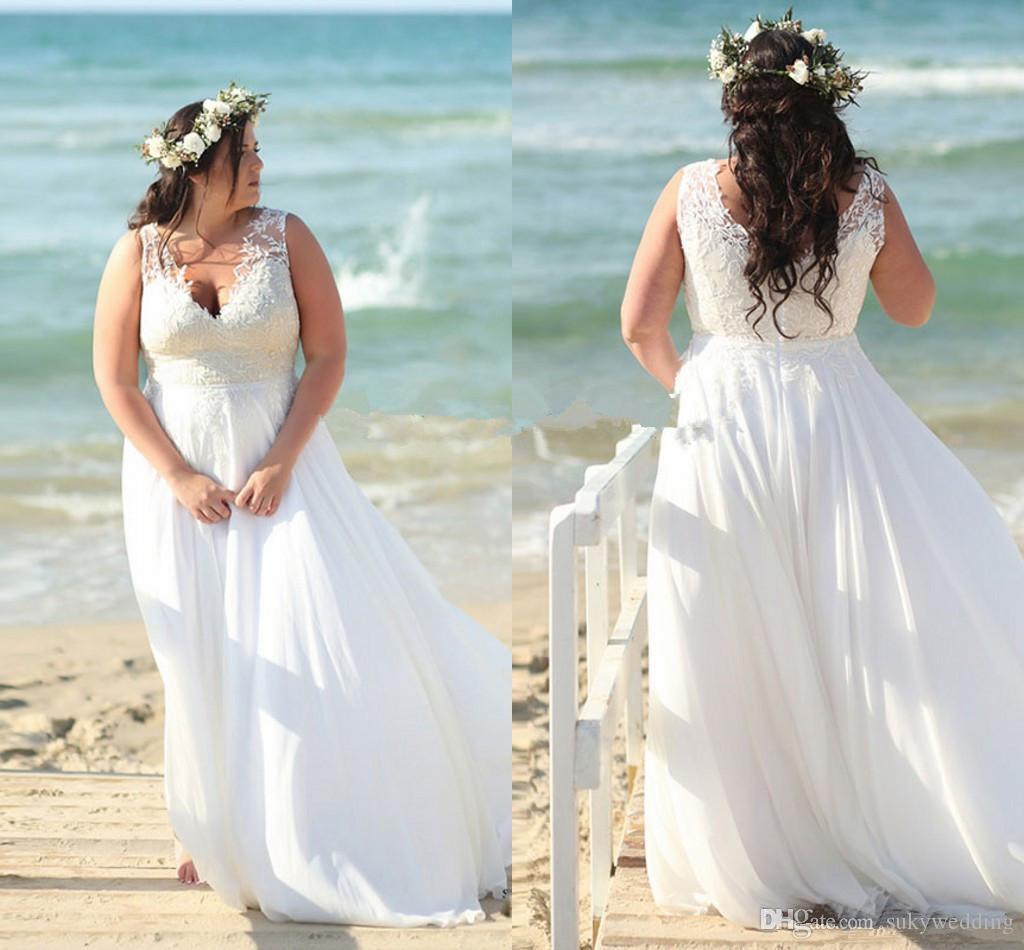 beach wedding dresses for plus size bride cheap online