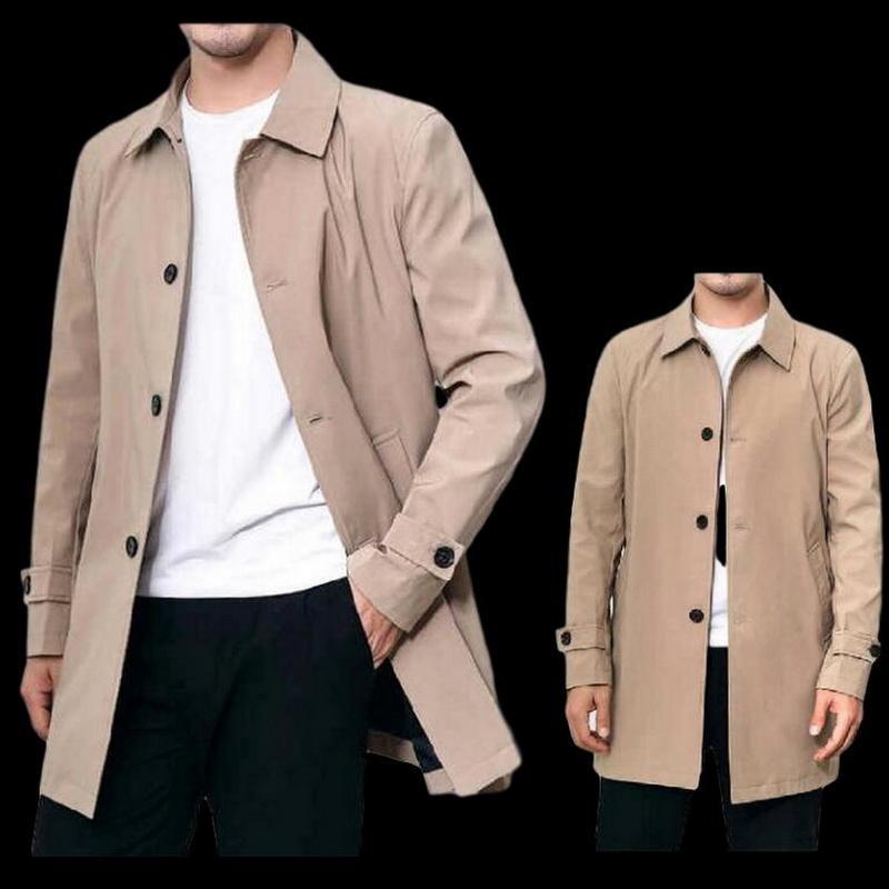 Erkekler Hendek Erkekler Coat İlkbahar Sonbahar Moda Yaka Hendek Ceket Erkek İş Casual WINDBREAKER Dış Giyim Jaqueta Masculina