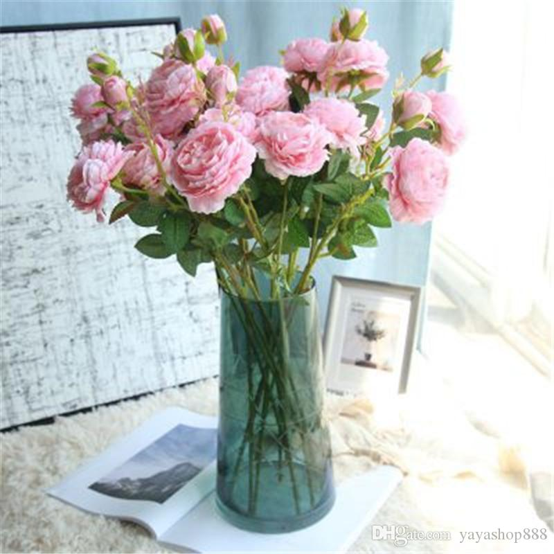 10PCS 3 Head peony artificial flowers for Wedding Living Room Decorations 61CM Fake Silk PU Flowers Wholesale DIY Home adornment Wreaths H57