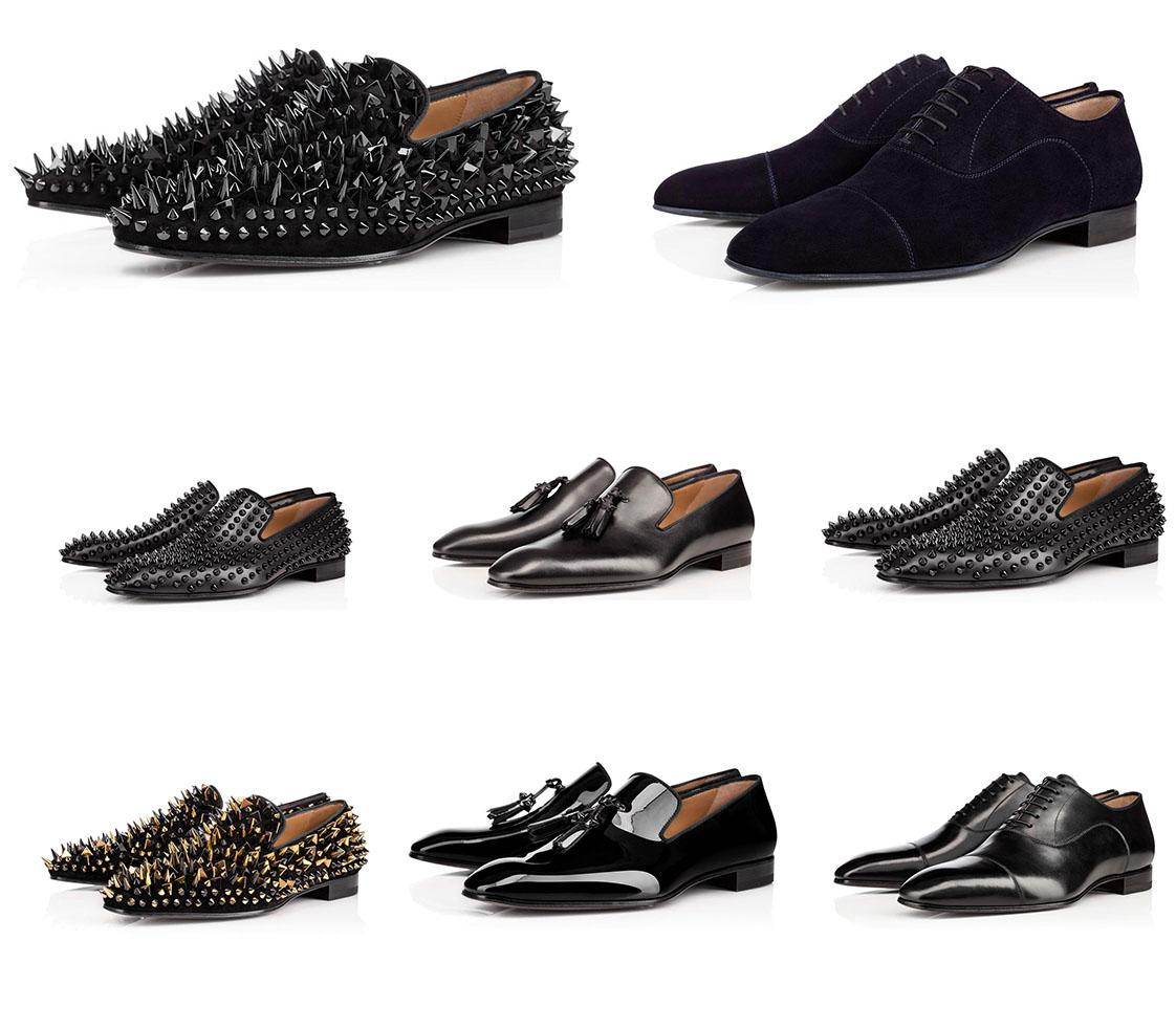 2020 zapatos de cuero de los hombres por ejecutivos señalaron los zapatos rojos de fondo de cuero genuino estilista zapatillas de deporte de los hombres Spikes plana escotado Suede remache zapatos casuales
