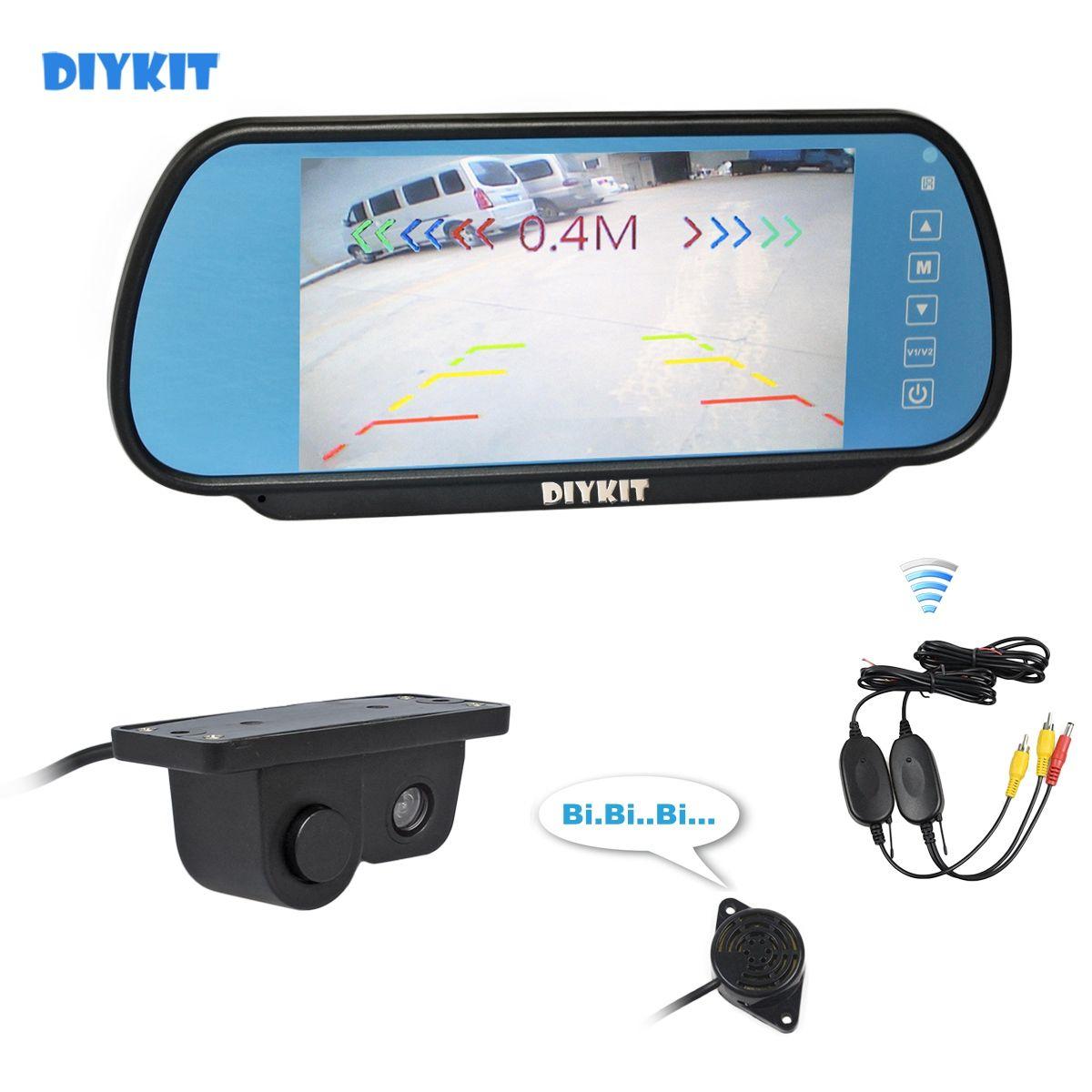 DIYKIT Wireless Parking System impermeabile radar di parcheggio della macchina fotografica del sensore di retrovisione dell'automobile + dell'automobile da 7 pollici monitor dello specchio di Rear View Monitor