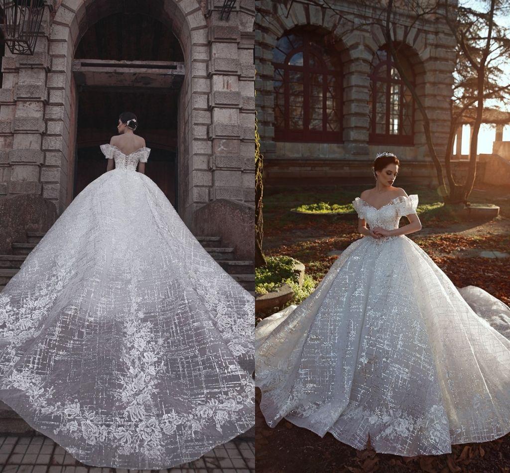 NOUVEAU BLANCHE Robe de mariée en robe de bal de balle 2019 Approche de dentelle Robes de mariée sur mesure Made Plus Taille Prestige Robe de mariée arabe Dubaï