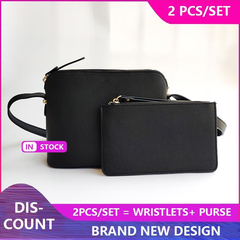 2ST Set-Marken-Entwerfer-Frauen PU-Leder Schultertasche Wristlet Umhängetasche Shell Taschen Mode Geldbeutel-Kurier-Beutel-Handtaschen