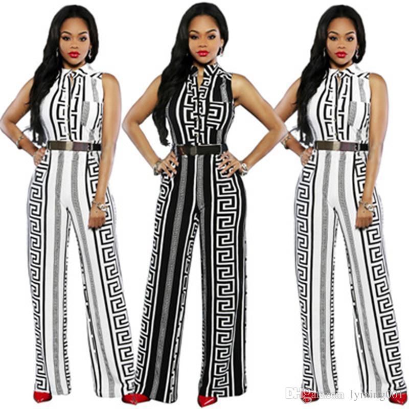 Женские летние печатные комбинезоны модные прямые брюки плюс размер одежды свободные тонкий комбинезон One Piece наряды комбинезон боди S-2XL