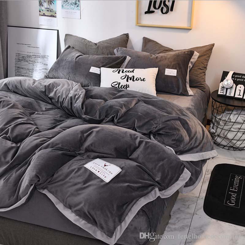 FB18003 populaire cristal de luxe Velvet Velvet Literie Housse de couette drap de lit 4pcs / set lit d'hiver Linge Roi Queen Size Velvet Home Textile