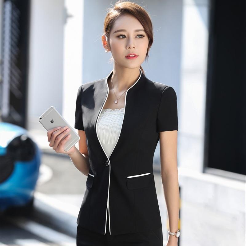 2017 Escudo de verano formal del estilo de las chaquetas de las mujeres chaquetas Delgado Moda para mujer Blazer asunto del trabajo del desgaste del tamaño extra grande Tops 3XL femeninos