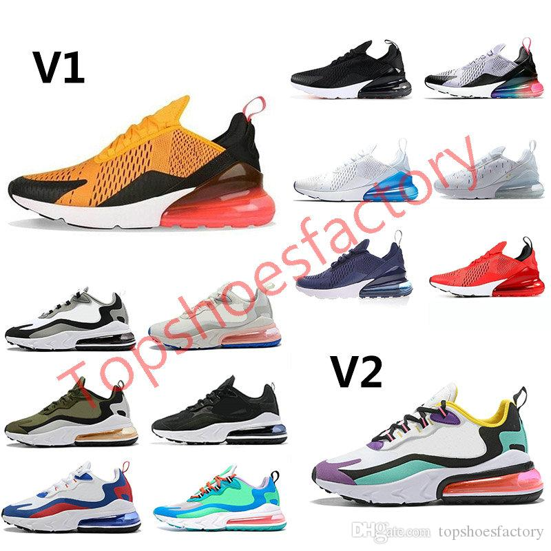 Nike air max react 270 running shoes airmax 270 react púrpura triples negro transpirable para hombre formadores mujeres zapatillas de deporte de tamaño 36-45 ejecutan