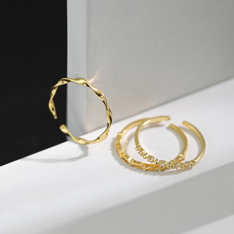 100% anelli in argento 925 fissati per monili delle donne, cristallo di modo stabilito anello color oro anello gioielli dito amiche regalo