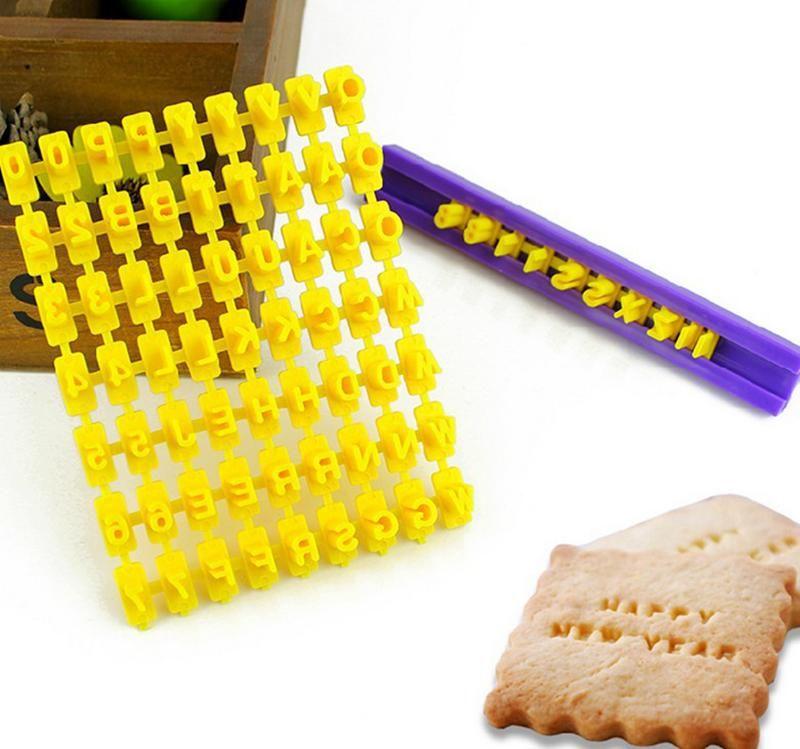 DIY Alphabet Plastic Cake Moulds Letter Impress Biscuit Cookie Cutter Press Stamp Embosser Fondant Mold Cake Molds