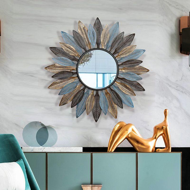 Creative Modern European Living Room Wall Hanging Mirror Sun Decorative  Mirror Porch Mirror Wall Hanging Wall Decoration Frame Home Décor Two Way  ...