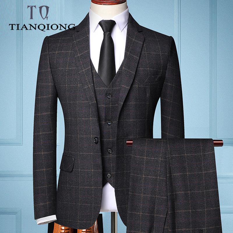 2020 Três peças Masculino Formal terno de negócio Mantas para Fashion Boutique Plaid vestido de casamento terno dos homens (Jacket + Vest + calça)