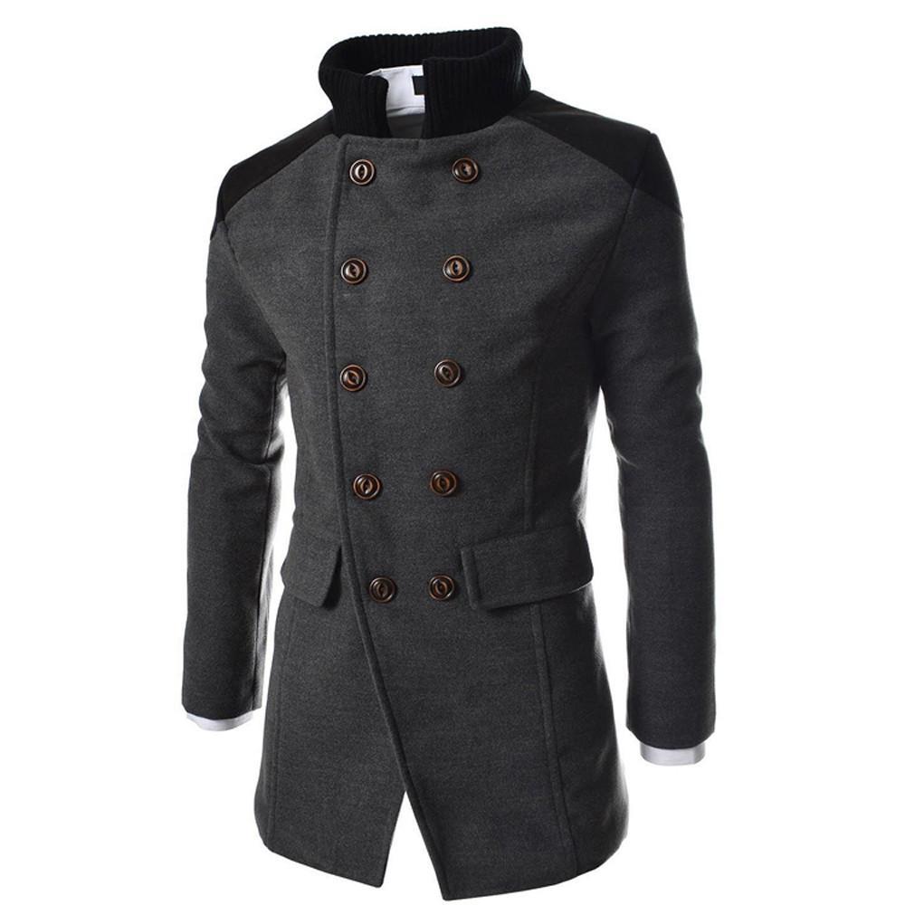 Uomini Jacket Warm Button Inverno Autunno trincea lungo Outwear cappotto intelligente soprabito di alta qualità casuale del Mens di modo rivestimenti del cappotto Tops