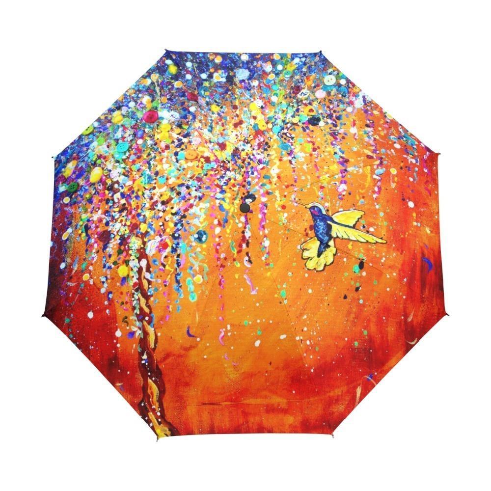 Creative Colorful Hummingbird Umbrella Anti-uv Sun Protection Umbrella Bird 3 Folding Gift Sunny Rainy Umbrellas For Women T8190619