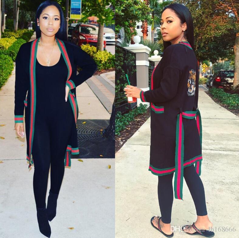 المرأة كم طويل النمر رئيس مطرزة حزب محبوك السيدات سترات ملابس خارجية الخريف مثير النساء الشريط خياطة سترة الأخضر اللباس البسيطة
