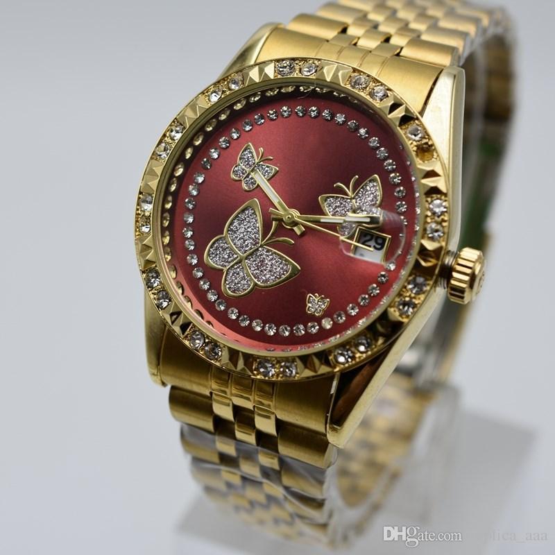 In vendita 36 millimetri in acciaio inossidabile di quarzo diamante cassa in oro donne orologi casual giorno data donne abito designer orologio all'ingrosso regalo donna Montres