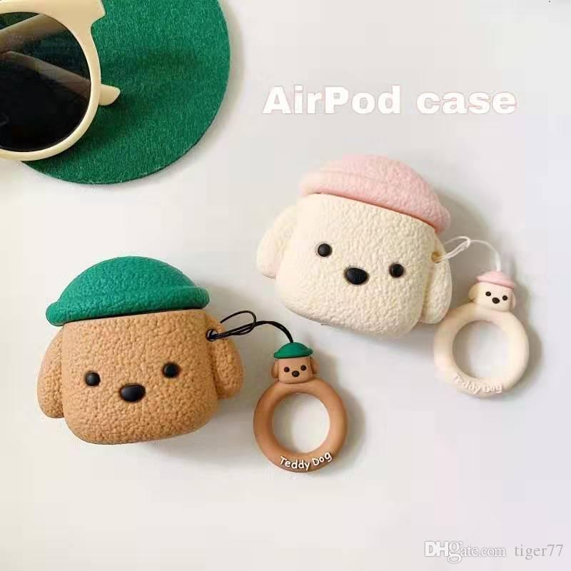 Чехол для Airpods случая Bluetooth наушники Тедди Симпатичные аксессуары Обложка для Airpods 2 с кольцом ремешок 3D дизайн для воздуха стручки Case