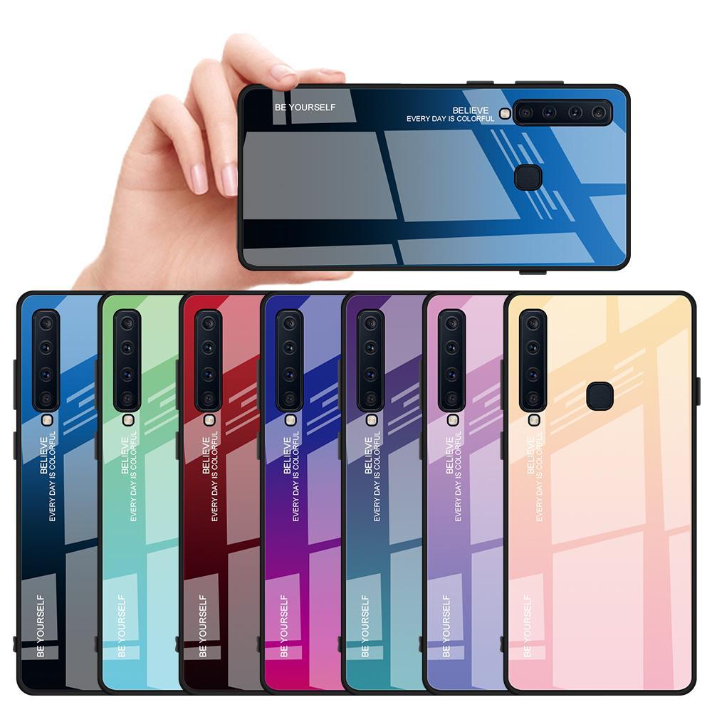 Caja del teléfono de vidrio templado para el Samsung Galaxy A10 A20 A30 A50 A6 A7 A8 A9 Plus 2018 M10 M20 M30 TPU Gradiente Color de la cubierta