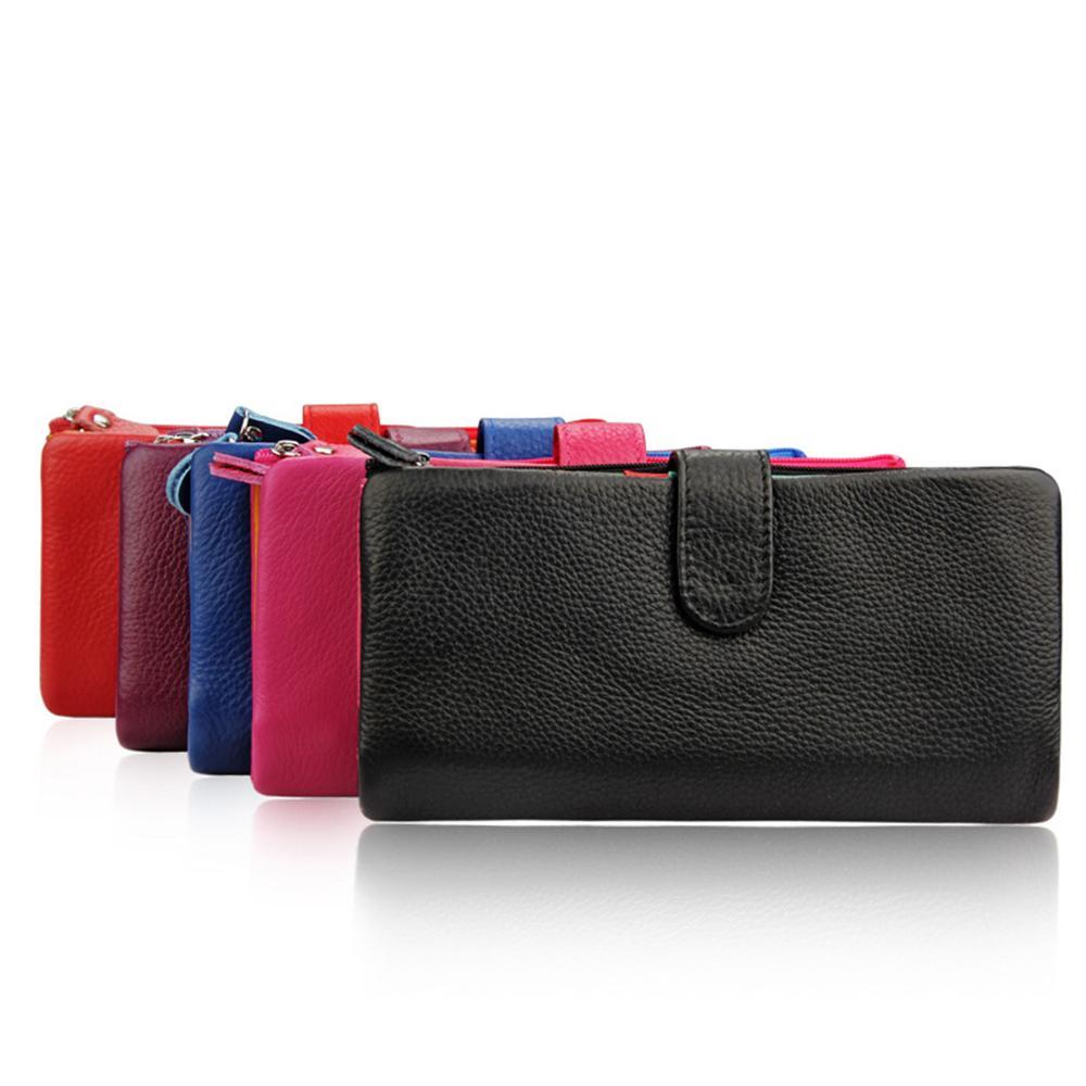 Mulheres de couro genuíno Bifold longa Clutch Carteiras Couro Zipper bolsas Multi-Card Slots Banknote bolsas de telefone Pockets presentes bolsa da forma