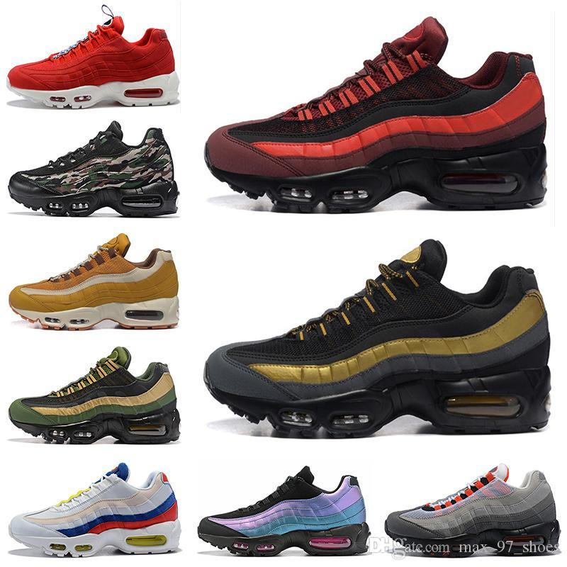 Nike Air Max 95 2020 Toptan Koşu Ayakkabıları TT Erkekler Kadınlar Ateş Kırmızı Askeri Yeşil Lazer Fuşya Chaussures Mens Trainer Spor Spor ayakkabılar Boyutu 36-46 Dış Mekan
