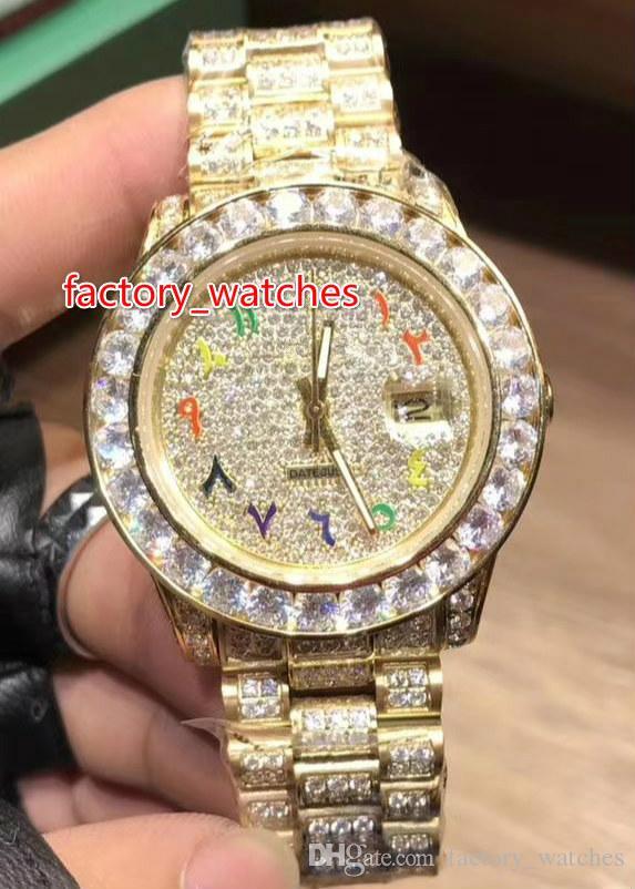 Büyük elmas erkek izle elmas çerçeve Arabistan numarası ölçekli moda iş elmas tam otomatik mekanik paslanmaz çelik izle